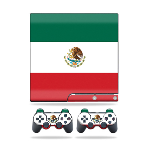 Skin Decal for Sony Playstation 3 PS3 Slim + 2 controllers sticker Mexican Flag