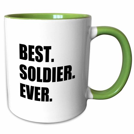 3dRose Best Soldier Ever - fun job pride gift for worlds greatest army guy - Two Tone Green Mug,
