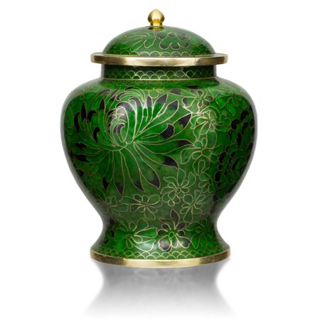 (Bronze Cremation Urn - Extra Large 210 Pounds - Cloisonne Green  - Engraving Sold Separately)
