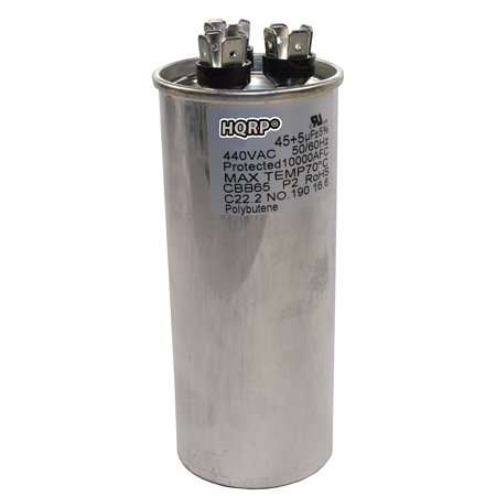 HQRP 45uf 5uf 370-440V Dual Run Capacitor CBB65 AC Electric Motor Start HVAC Blower Compressor Furnace CBB65-R 45MFD 97F9851 5MFD 27L889 Z97F9851 + HQRP Coaster Air Conditioning Run Capacitor