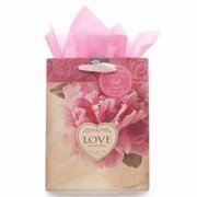 Christian Art Gifts 365018 Gift Bag - Love Never Fails With Tag & Tissue - Medium