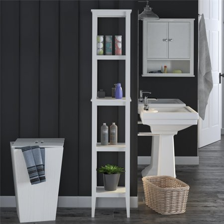 SystemBuild Lydia Bathroom Storage Tower, White (Best Way To Build A Paper Tower)