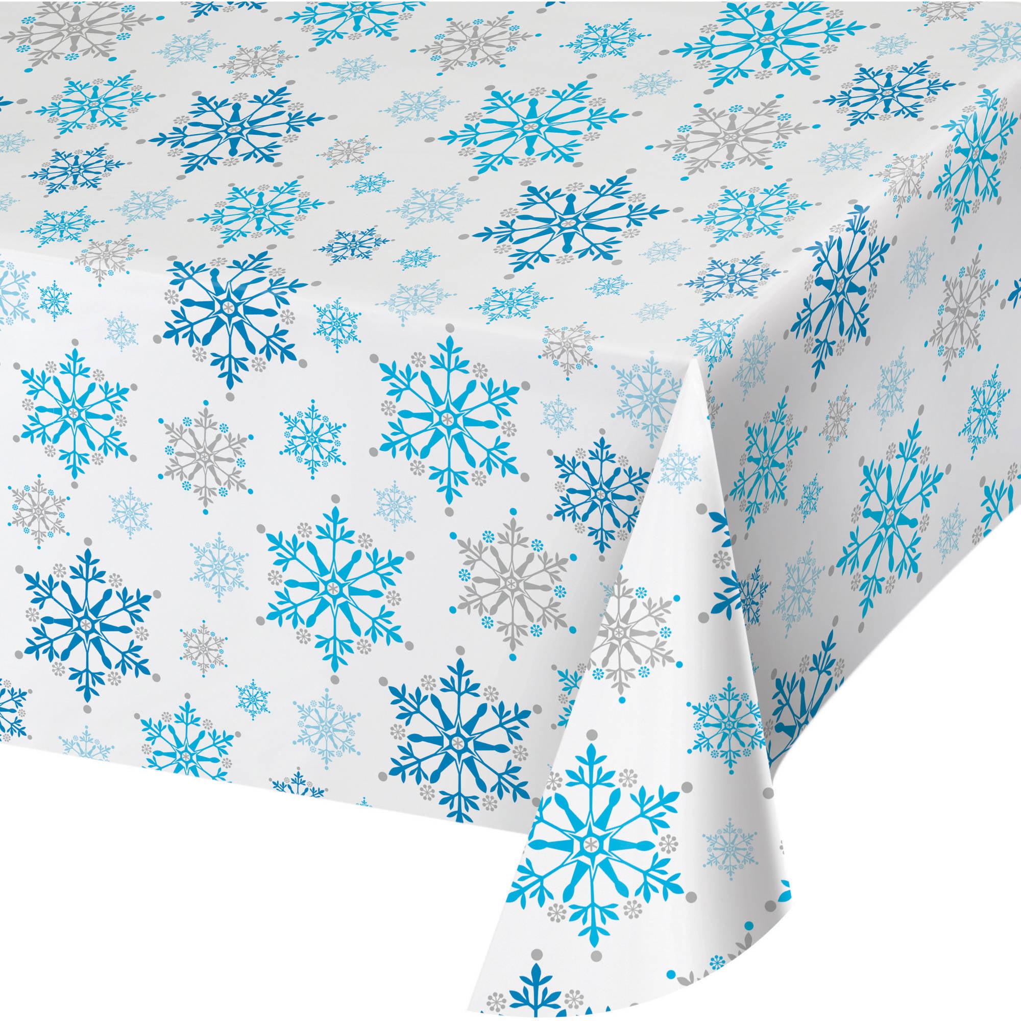 Snowflake Swirls Plastic Tablecloth