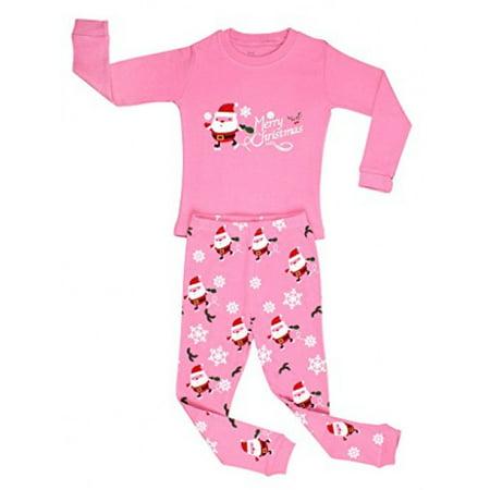 "Elowel Little Girls ""Christmas Santa"" 2 Piece Pajama Set 100% Cotton Size 7"