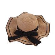 Iuhan Women Beach Straw Hat Jazz Sunshade Panama Trilby Fedora Hat Gangster Cap