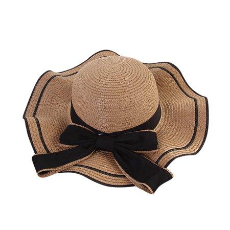 Iuhan Women Beach Straw Hat Jazz Sunshade Panama Trilby Fedora Hat Gangster Cap](Pink Trilby)