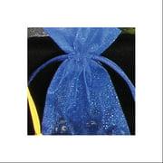 "Set of 2 Small Tie Gift Bags- Royal Blue Sheer Organza 5.5"""