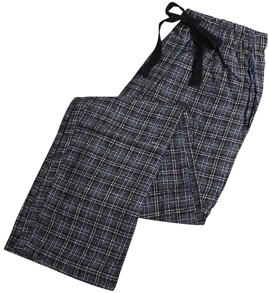 B.O.P.J - Mens Flannel Lounge Sleep Pajama Pant Black Blue / Small