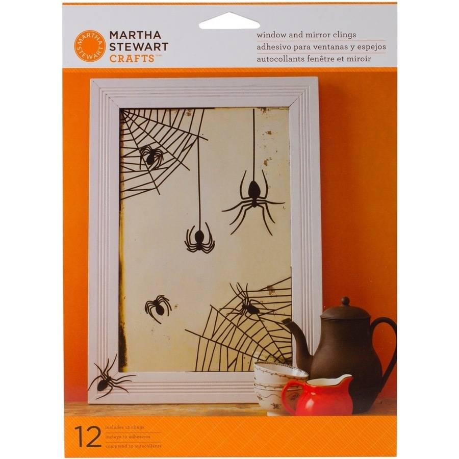 Elegant Witch Mirror Clings, 12pk, Spiders/Owls/Bats/Moon/Witch/Frog/Cat