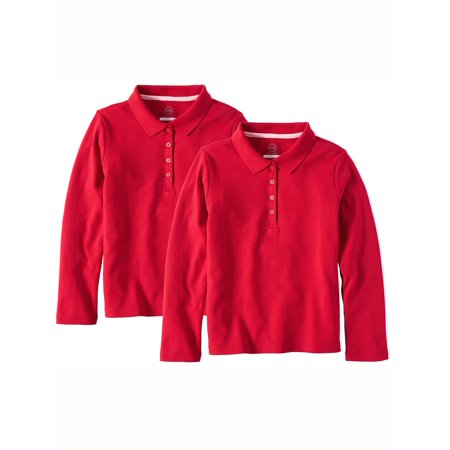 Girls School Uniform Long Sleeve Interlock Polo, 2-Pack Value Bundle - School Clothes