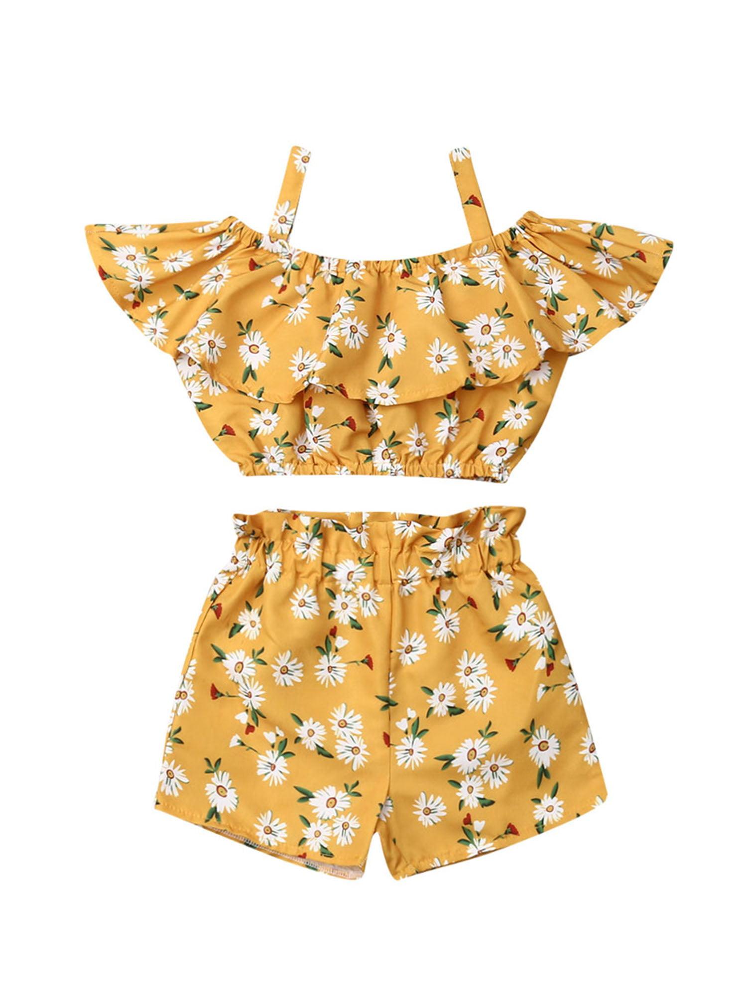 MOVEmen Baby Girls Sleeveless Fruits Lemon Print Tube Tops+Shorts Outfits Leisure Sling T-Shirt for Travel Beach