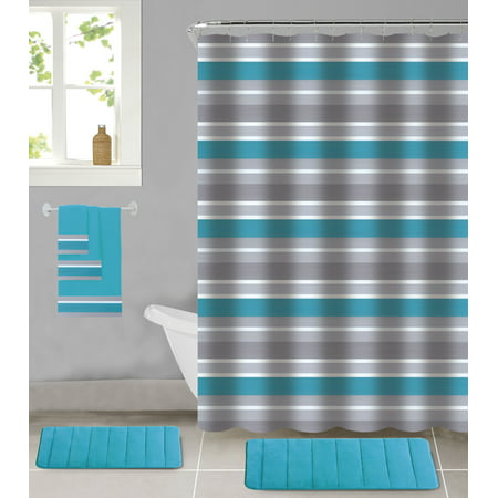 All American Collection 18-Piece Bathroom Set with 2 Memory Foam Bath Mats Matching Shower Curtain and 3 Bath Towels