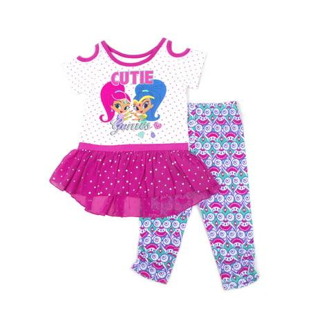 Hobo Outfit (Shimmer & Shine Toddler Girl Cold Shoulder Top & Capri Leggings, 2pc Outfit)