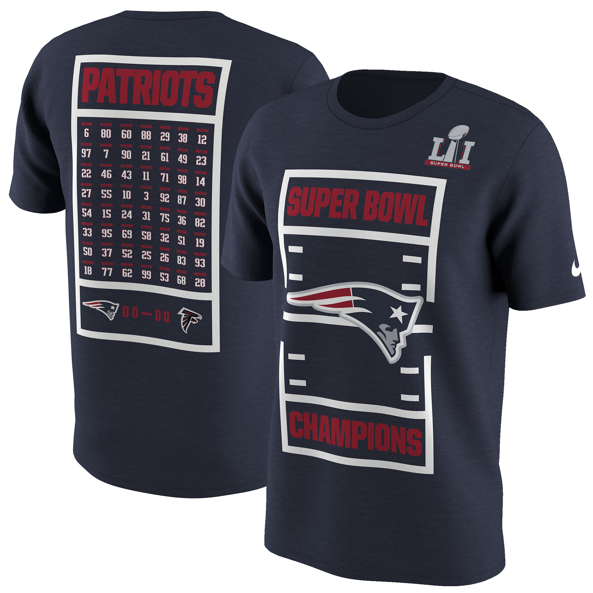 "Men's Philadelphia Eagles /""ROSTER/"" Super Bowl LII CHAMPIONS Licensed Tee-Shirt"