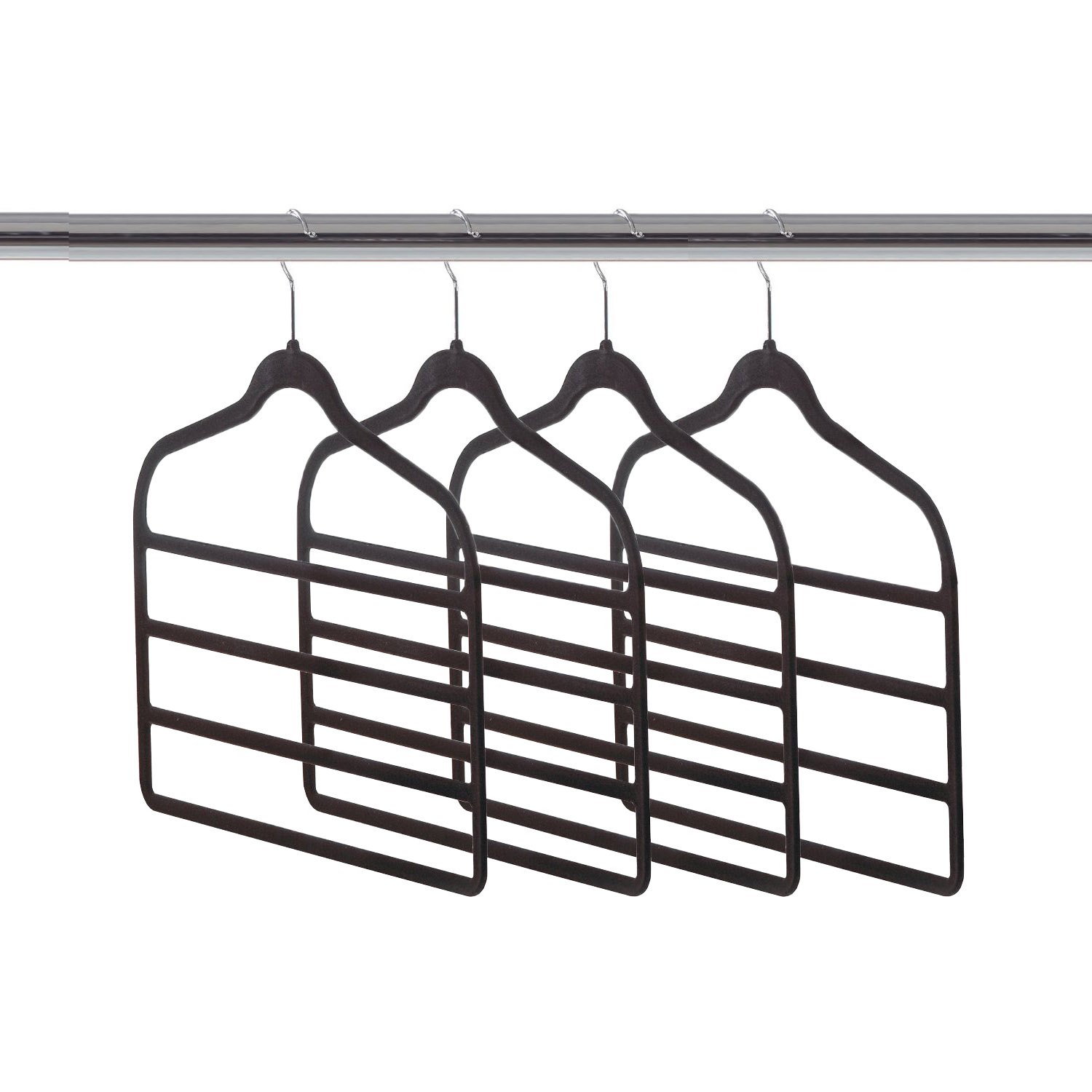 Home Ease 4-Tier Pants and Skirts Velvet Hanger, Black (4 Pack) | 2PKPH2000