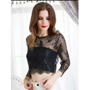 Women's Short Sleeve Mesh Floral Lace Crochet Crop Top