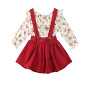 2PCS Sets Xmas OutfitKids Baby Girl Toddler Fall Tops Dress Skirts Autumn