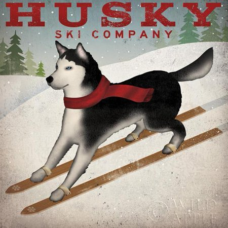 Husky Ski Company by Ryan Fowler 12x12 Signs Dogs Siberian Husky Animals Art Print Poster Vintage Advertising