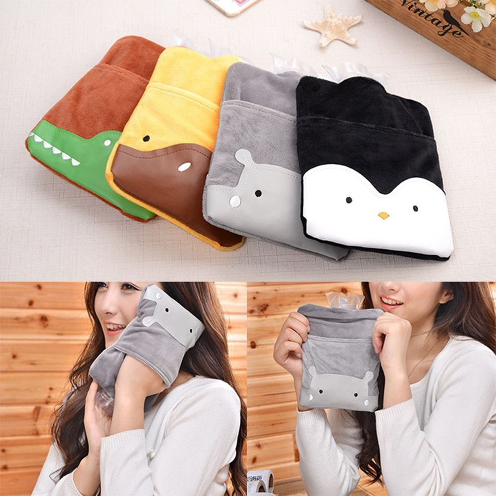Obstce Cartoon Animal Bowknot Cute Hot Water Bottle Bag Flannelet Winter Hand Warmer
