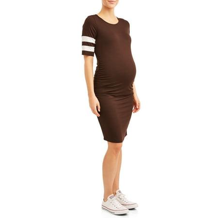 Maternity Striped Sleeve Body Con Midi (Sleeve Smocked Maternity Dress)