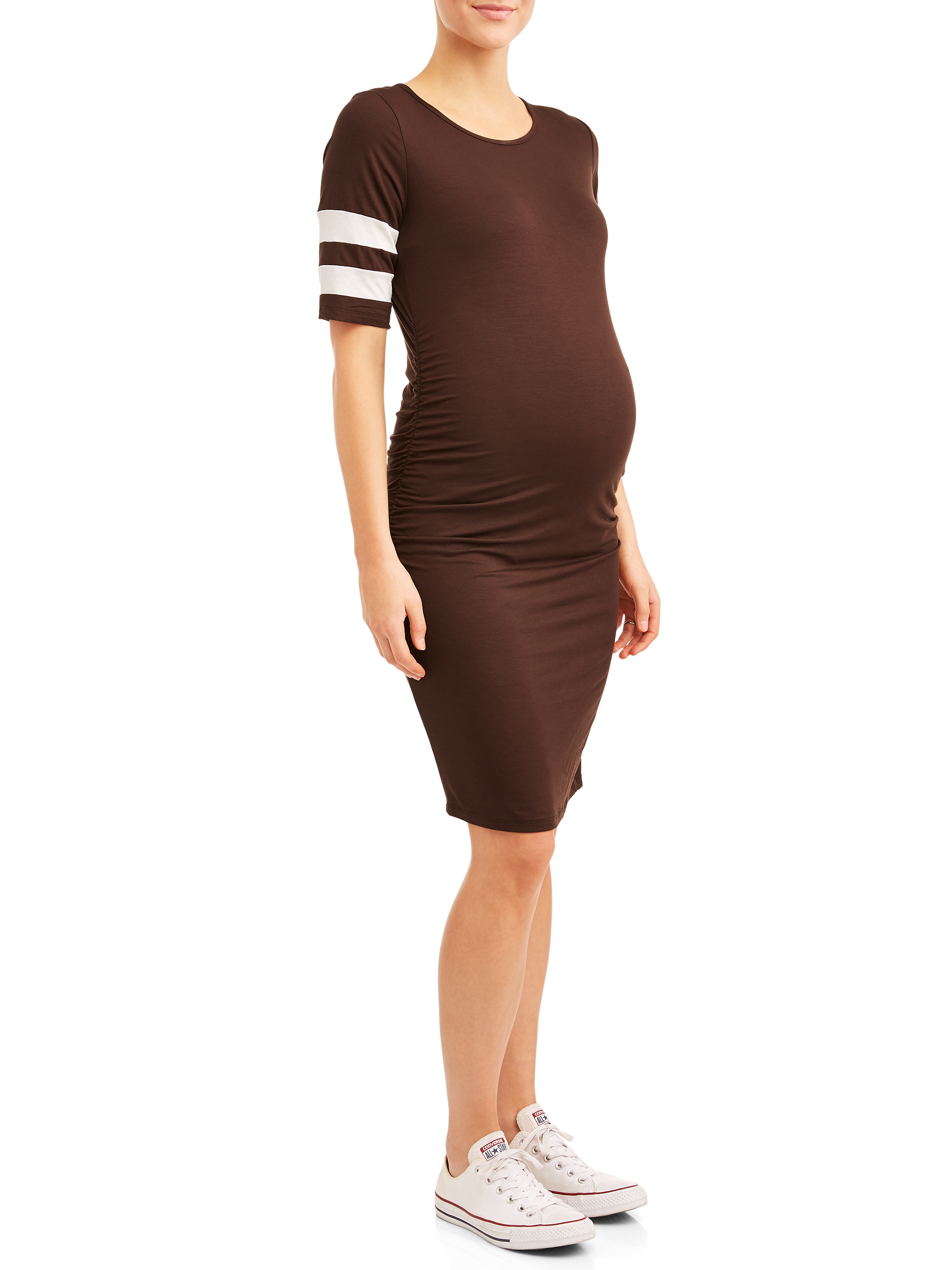 Maternity Striped Sleeve Body Con Midi Dress