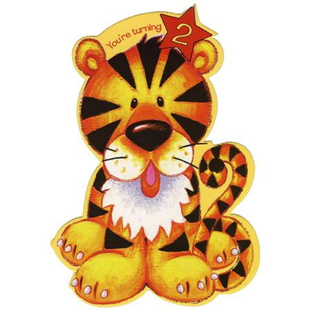Designer Greetings Cute Tiger Die Cut Top Fold Age 2 / 2nd Birthday Card