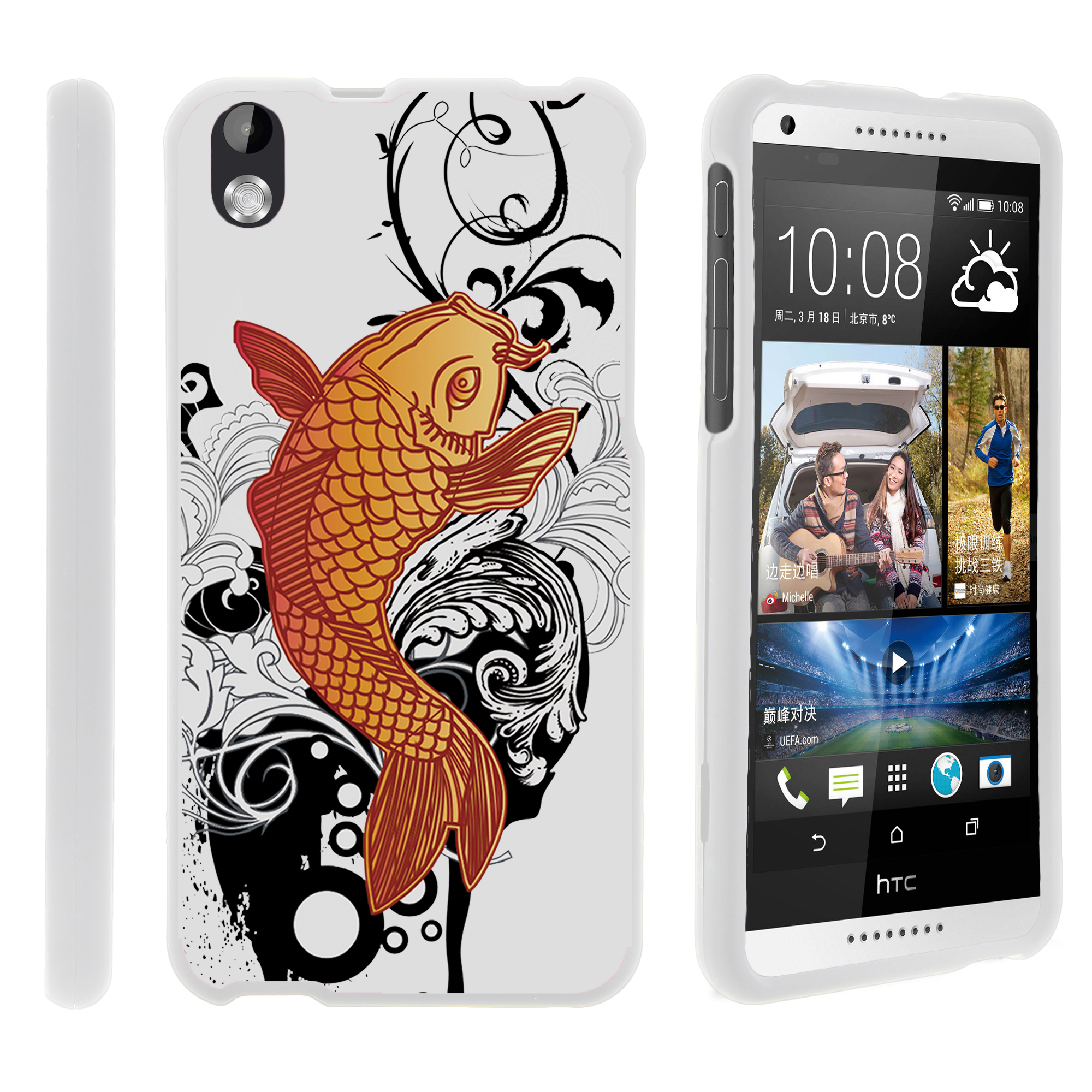 HTC Desire 816, [SNAP SHELL][White] 2 Piece Snap On Rubberized Hard White Plastic Cell Phone Case with Exclusive Art -  Koi Fish
