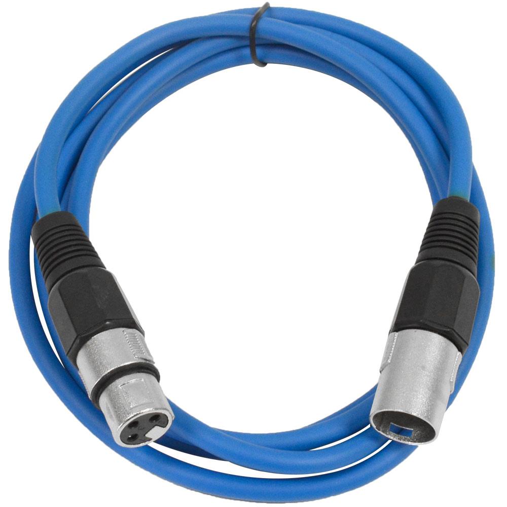Seismic Audio  Blue 6' XLR Patch Cable - Snake Mic Cord Blue - SAXLX-6Blue