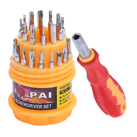 31 pcs Small Precision Screwdriver Kit Phillips/Cross/Flat/Slot/Slotted Head (Small Parts Set)