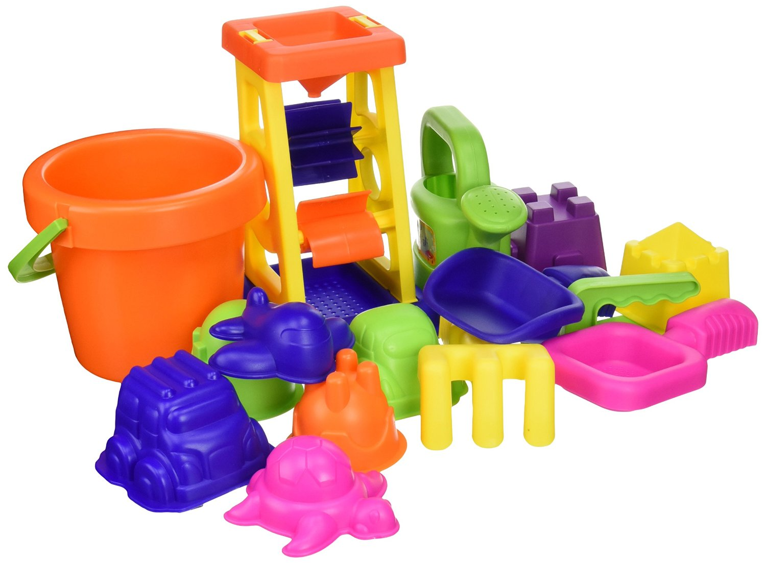 Sand & Water 15-pc Sand Toy Set, Water 15pc Ball Sand vary Stop Molds Click Zippered World Blast Beach Rakes... by