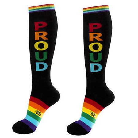 PROUD Socks, LGBT Athletic Gay Socks, Black with Rainbow, by Gumball - Rainbow Gumballs