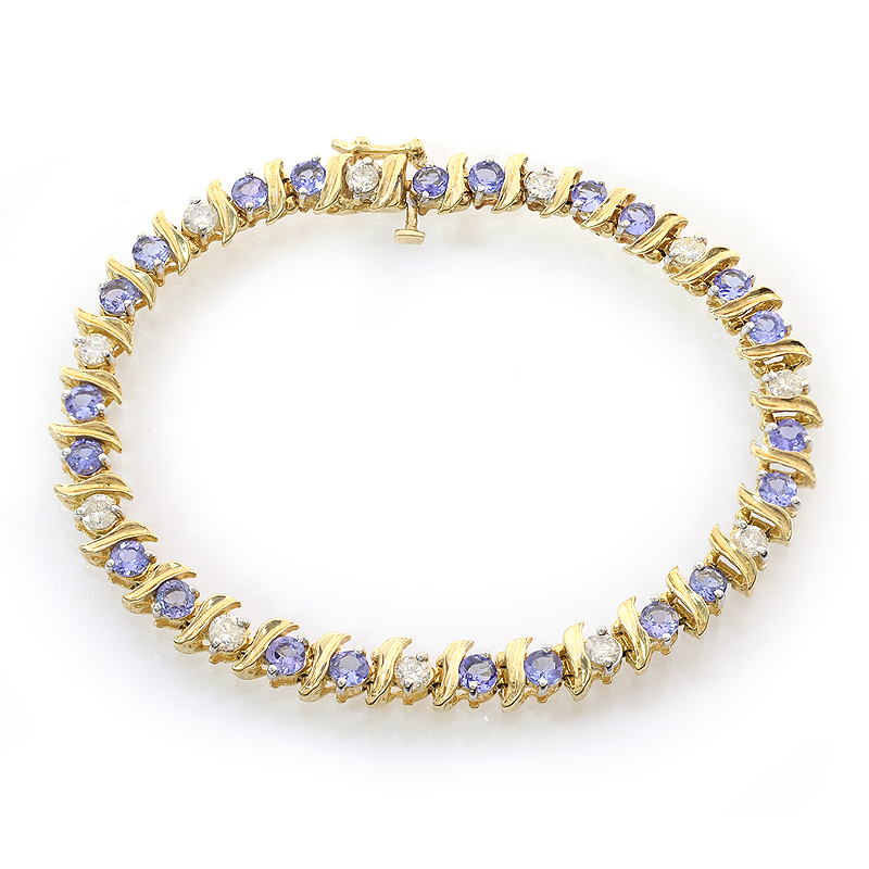 1.50 Carat Diamond and 4.00 Carat Tanzanite 14k Yellow Gold Tennis Bracelet by