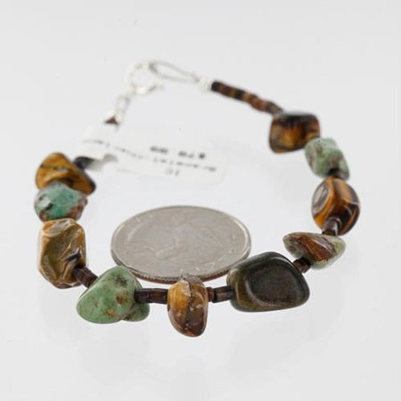 Certified Authentic Navajo .925 Sterling Silver Natural Turquoise, Tigers Eye and Jasper Native American Bracelet
