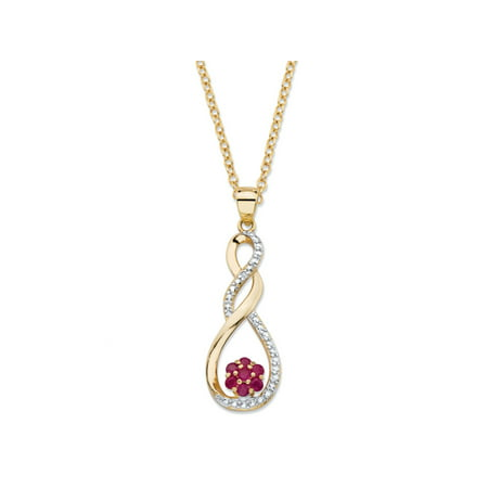 .35 TCW Genuine Red Ruby and Diamond Accent Infinity Flower Pendant Necklace in 14k Yellow Gold over Sterling Silver 18