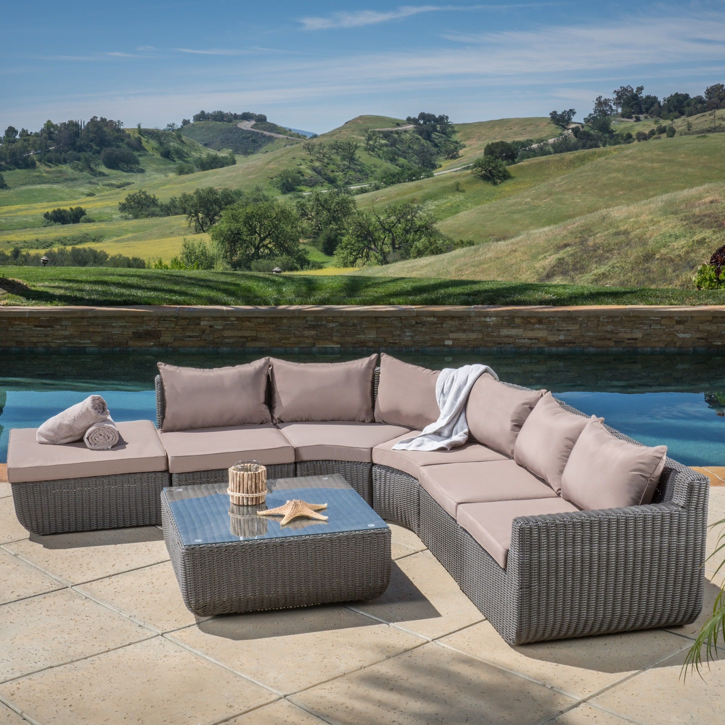 Christopher Knight Home Carmel 7 piece Outdoor Sectional Set by