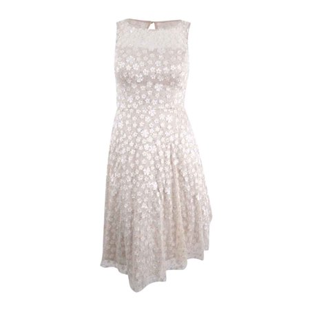 Jessica Howard Women's Illusion Floral Fit & Flare Dress (12, Champagne)