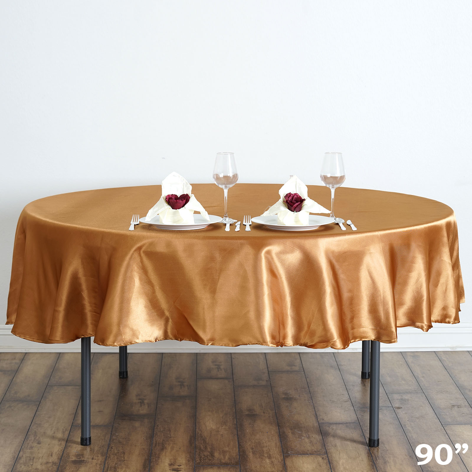 """Efavormart 90"""" Round Satin Tablecloth for Kitchen Dining Catering Wedding Birthday Party Decorations Events"""