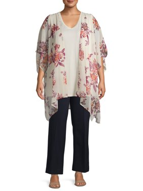 Terra & Sky Women's Plus Size Printed Kimono 2fer Set