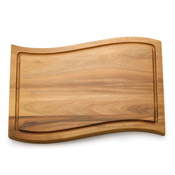 Savora Wave Acacia Cutting Board with Groove, 12-Inch-by-18-Inch