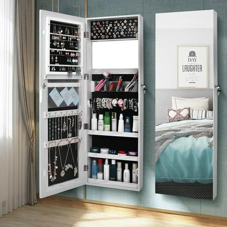 New Retro PVC Wood Grain Coating Whole Body Mirror Decoration Storage Dressing Mirror Jewelry Mirror Cabinet White