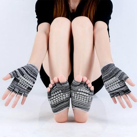 Yoga Socks and Gloves, Cotton Non-Slip Grip Socks Toeless Foot Yoga Socks Pilates Ballet Socks for (Best Pilates Clothing Brands)