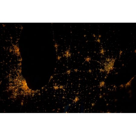 Night time satellite image of Chicago Milwaukee Detroit and Lake Michigan Michigan USA Poster Print by Panoramic Images](Halloween Usa Stores In Michigan)