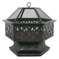 """Zeny Heavy Steel Hex Shape 24"""" Fire Pit Bowl Wood Burning Fireplace Patio Backyar Outdoor Heater Steel Firepit"""