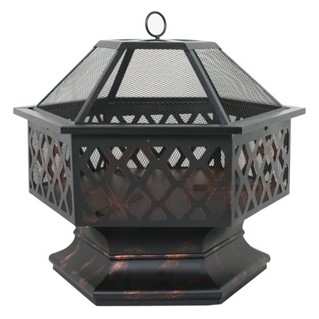 "Zeny Heavy Steel Hex Shape 24"" Fire Pit Bowl Wood Burning Fireplace Patio Backyar Outdoor Heater Steel Firepit"