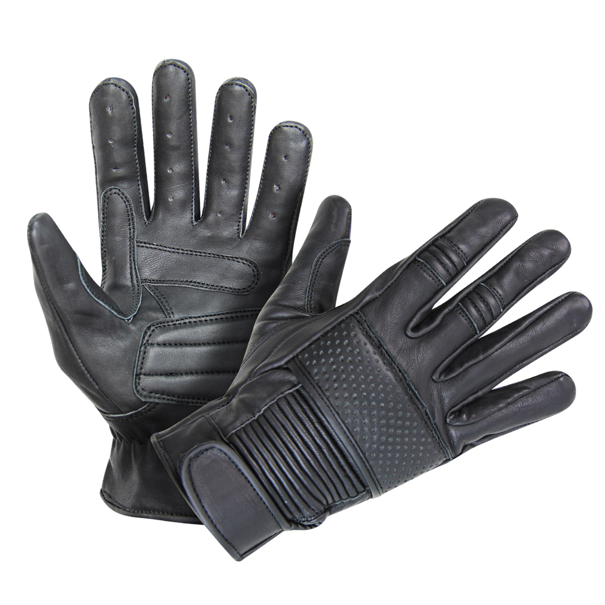 Xelement UK2650 Mens Black Leather Riding Gloves