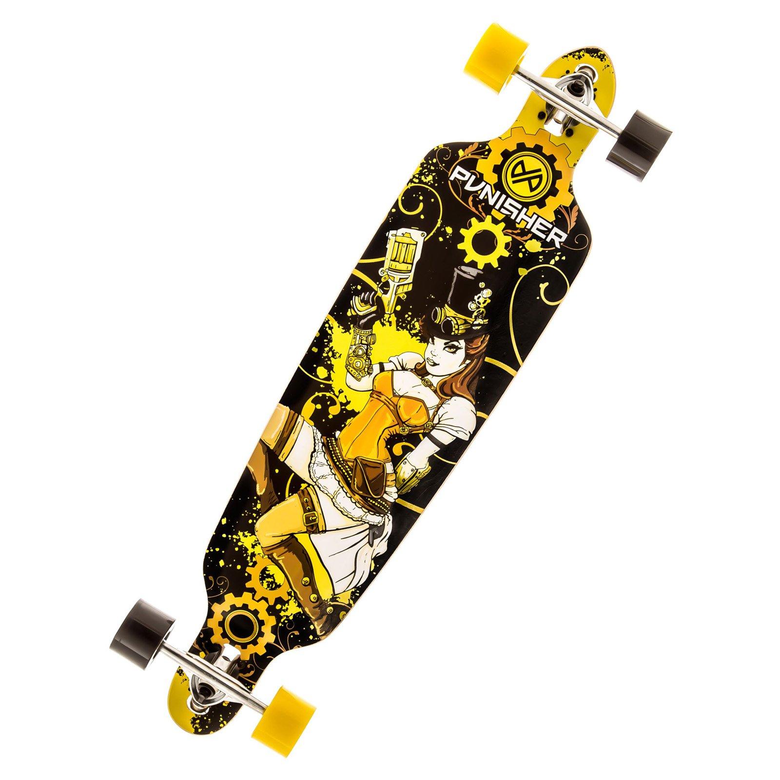 "Punisher Skateboards Steampunk 40"" Longboard, Double Kick with Drop Down Deck"
