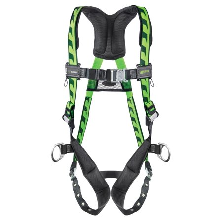 Chest D-rings - Miller by Honeywell Large/X-Large DuraFlex AirCore Green Harness With Back And Side D-Rings, Quick-Connect Chest Strap Buckle, Tongue Leg Strap Buckle, Lumbar Pad, Removable Belt And Aluminum Har