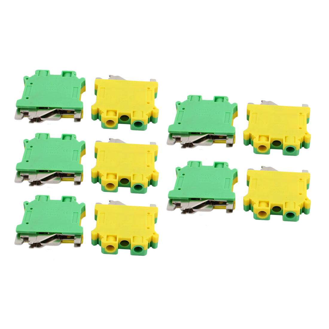 10Pcs 44x42x10mm 10mm2 24-6AWG Universal Grounding Terminal Block Yellow Green