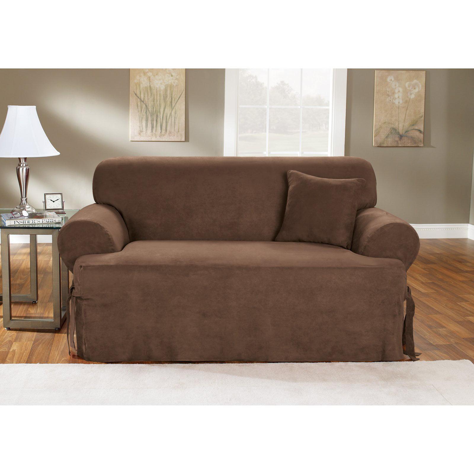 Sure Fit 1pc Soft Suede T Cushion Sofa Slipcover Cream Walmart