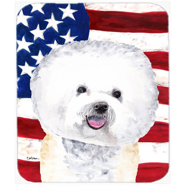 Usa American Flag With Bichon Frise Mouse Pad, Hot Pad Or Trivet - image 1 de 1